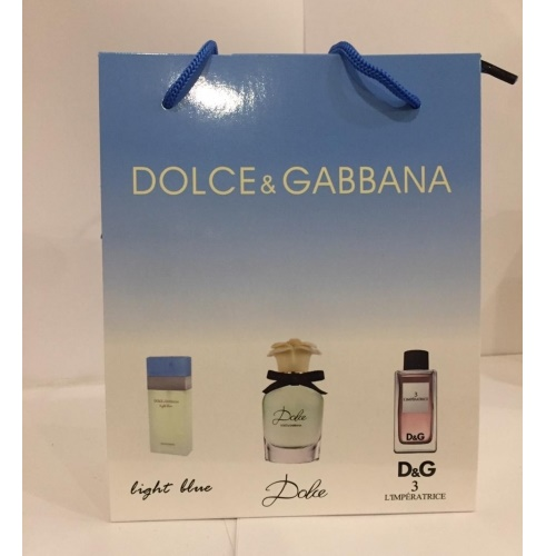 Подарочный набор  Mini 3*15ml Dolce&Gabbana LIGHT BLUE + DOLCE + DG№3  WOMEN